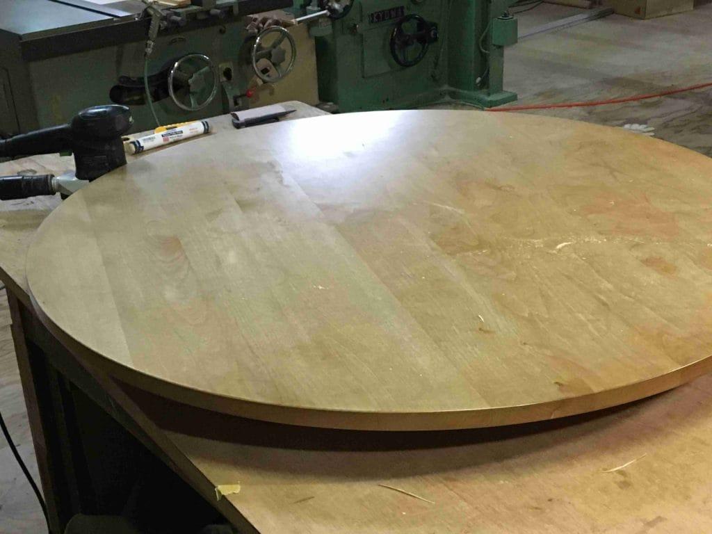 アルダー無垢円形テーブル修理前全体